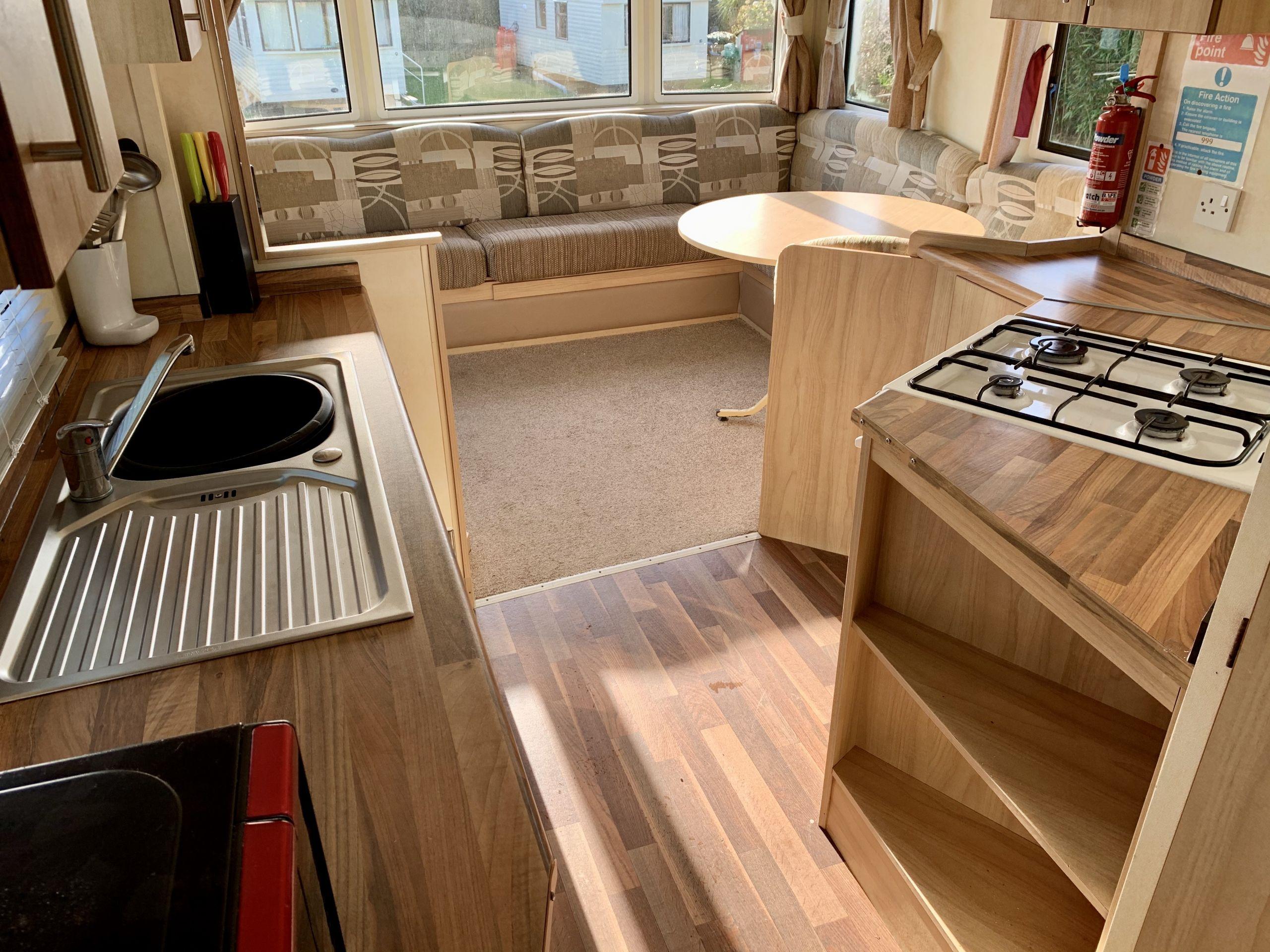 Lamorna hoilday home. living room area , Roselands caravan park St Just